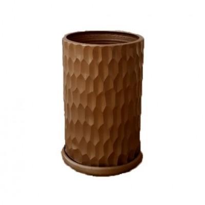 Pot Cylindre Martelé Bronze